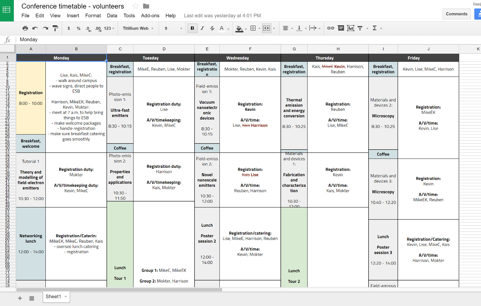 Screenshot of more spreadsheets